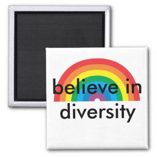 croyez à la diversité magnet carré