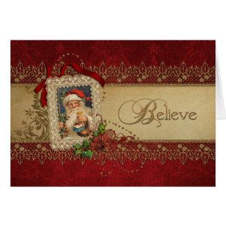 Croyez l'or et Noël rouge de cru de damassé Carte De Vœux