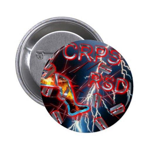 CRPS/RSD Blue Lightning Razor Blades & Needles Pinback Button