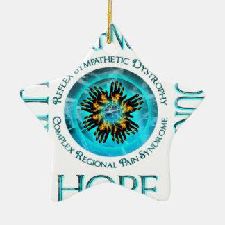 CRPS RSD Faith Courage Strength Hope Blazing Hands Ceramic Star Ornament