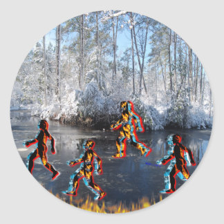 CRPS RSD FIre & Ice FIgures on Frozen NC Landcape Classic Round Sticker