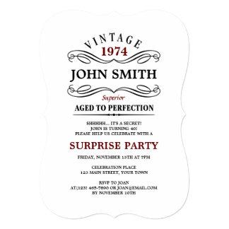 Cru âgé à l'invitation drôle d'anniversaire de carton d'invitation  12,7 cm x 17,78 cm