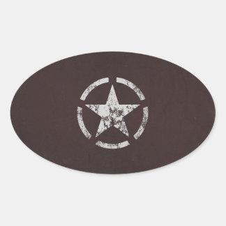 Cru blanc allié d'étoile des USA Sticker Ovale