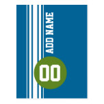 Cru bleu et vert emballant des rayures cartes postales