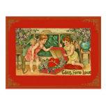 Cru/carte postale antique de Valentine