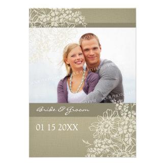 Cru d'invitations de mariage de photo floral