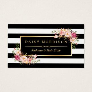 Cru d'or de salon de beauté de maquilleur floral cartes de visite