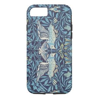Cru floral de tapisserie bleue d'oiseaux de coque iPhone 7