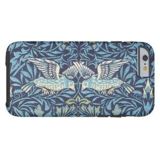Cru floral de tapisserie bleue d'oiseaux de coque tough iPhone 6