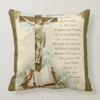 Crucifix Bible Rosary Prayer Gold Flowers lilies Throw Pillow