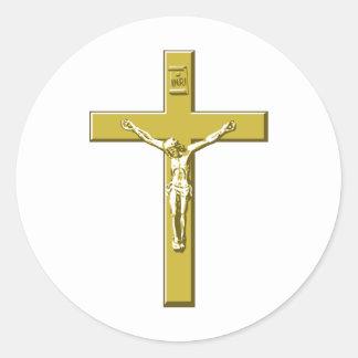 Crucifix in Gold Classic Round Sticker