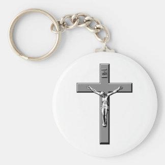 Crucifix in Silver Keychain