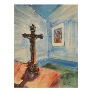 Crucifix in the room by Walter Gramatte Posters