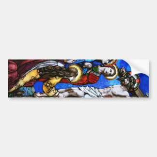 Crucifixion of Jesus Christ Stained Glass Art Bumper Sticker