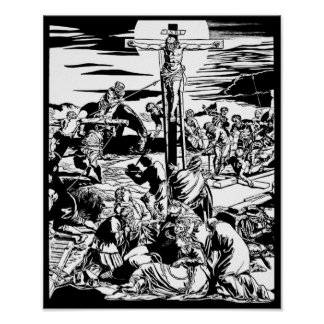Crucifixion of Jesus Christ Vintage Art Print! Poster