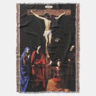 Crucifixion of Jesus & Virgin Mary & St John Throw Blanket