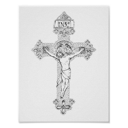 Crucifixion, pen and ink by Jenny McLaughlin Poster