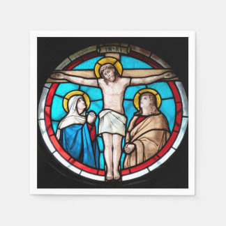 Crucifixion Stained Glass Window Paper Napkins