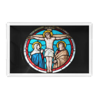 Crucifixion Stained Glass Window Perfume Tray