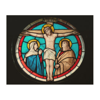 Crucifixion Stained Glass Window Wood Canvas