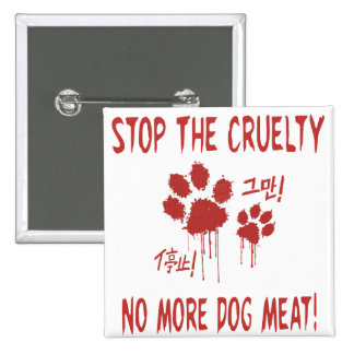 """Cruelty Free For Our Friends""Button:Korea & China 2 Inch Square Button"
