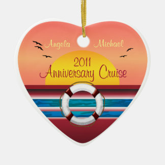 Cruise Anniversary - Sunset  Template Double-Sided Heart Ceramic Christmas Ornament