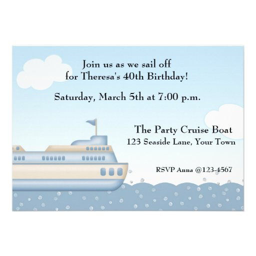Birthday Cruise Invites, 68 Birthday Cruise Invitation