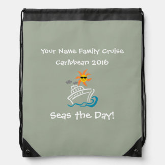 Cruise Drawstring Backpack Grey - Seas the Day!