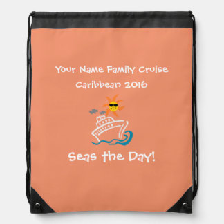 Cruise Drawstring Backpack Peach - Seas the Day!