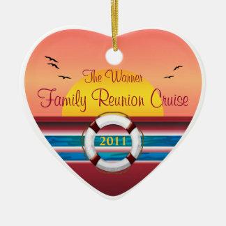 Cruise Family Reunion - Sunset  Template Ceramic Heart Ornament