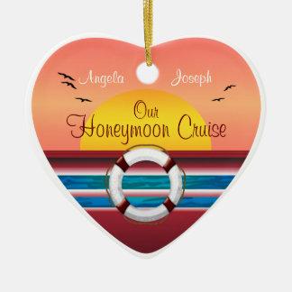 Cruise Honeymoon - Sunset Template Heart Double-Sided Heart Ceramic Christmas Ornament