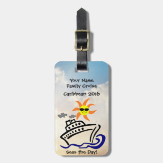 Cruise Luggage Tag w/Leather Strap - Seas the Day!