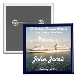 Cruise Name Badge - X Ship 2 Inch Square Button