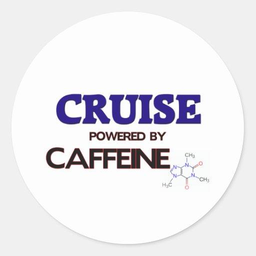 Cruise powered by caffeine round sticker