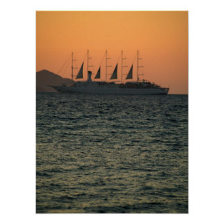 Cruise Sailing Boat in the sunset Posters