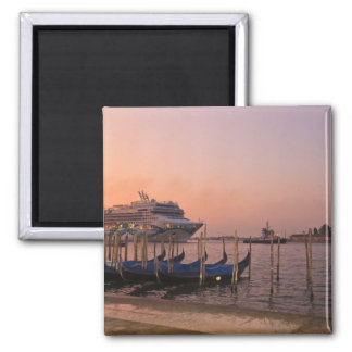Cruise Ship and Gondolas near Grand Canal, Italy Square Magnet