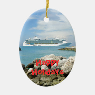 Cruise Ship at CocoCay Custom Ceramic Ornament