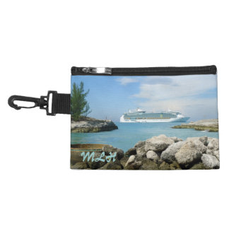 Cruise Ship at CocoCay Monogrammed Travel Accessory Bag