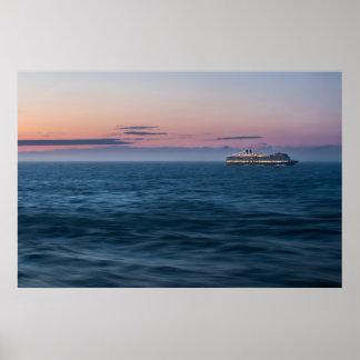 Cruise Ship at Sunset Poster