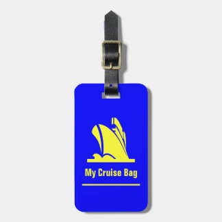 Cruise Ship Blue and Yellow Luggage Tag
