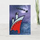 Cruise Ship - Boat at Sea + Santa flying over head Christmas Card