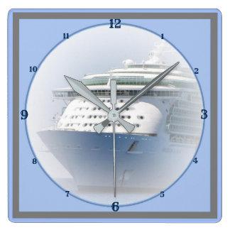 Cruise Ship Cameo Nautical Square Wall Clock