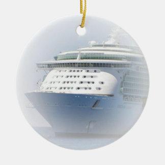 Cruise Ship Cameo Round Ceramic Ornament