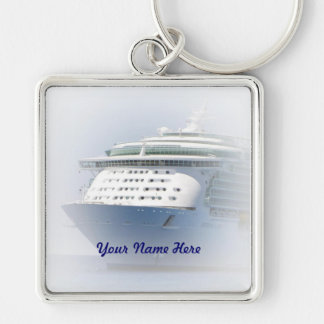 Cruise Ship Cameo with Name Silver-Colored Square Keychain