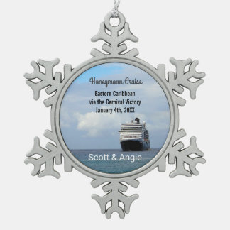 Cruise Ship | Honeymoon Personalized Snowflake Pewter Christmas Ornament