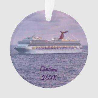 Cruise Ship in Purple Dated Ornament