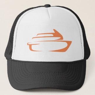Cruise Ship in Swish Drawing Style Trucker Hat