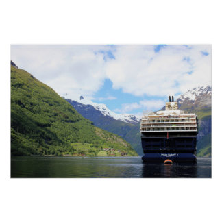 Cruise ship in the Geirangerfjord Poster