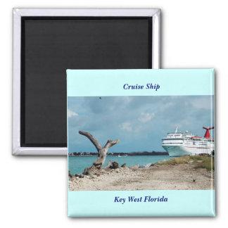 Cruise Ship, Key West Florida Square Magnet