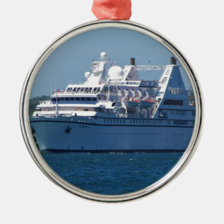 Cruise Ship Leaving Mahon Silver-Colored Round Ornament